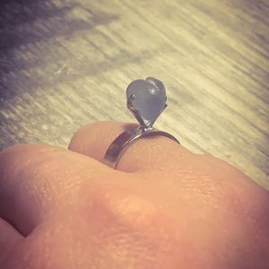Blue Sea Glass Heart Shaped Adjustable Ring